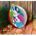Новогодний шар фреска Снеговик с подарками