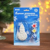 Ёлочное украшение под раскраску Снеговик с подвесом