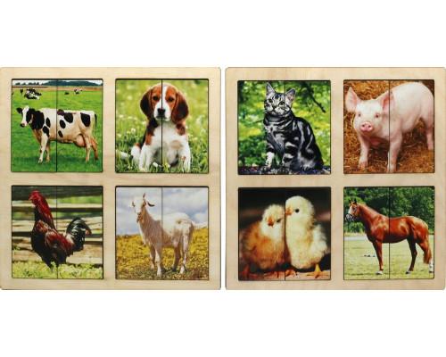 Картинки-половинки Домашние животные, 2 планшета